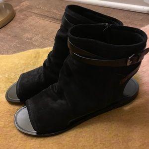 Vince Thalia slouchy suede cutout flat sandals